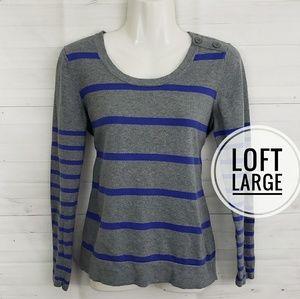 Large Loft gray stripe crewneck sweater